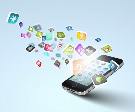 social actions: Media technology illustration with mobile phone and icons