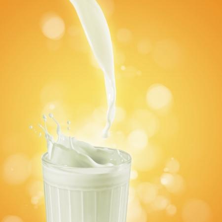 vacas lecheras: La leche fresca en el vidrio en el fondo de color ilustraci�n,