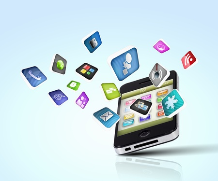 Media technology illustration with mobile phone and icons Stock Illustration - 16896897