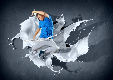 Modern style dancer jumping and paint splashes Illustration Stock Illustration - 16896807