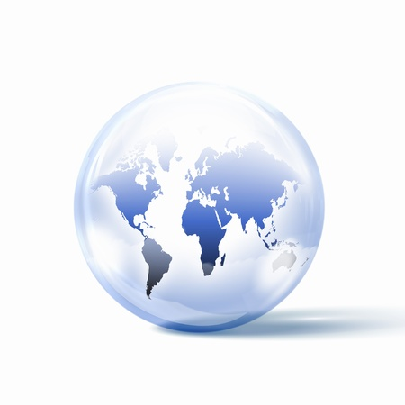 the world or our planet earth inside a glass sphere Stock Photo - 16895532