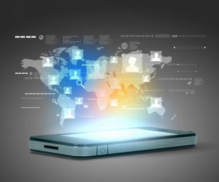 web application: La moderna tecnologia, illustrazione, comunicazione con il telefono mobile e ad alta tecnologia sfondo