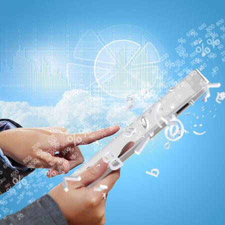 Modern wireless technology illustration with a computer device illustration