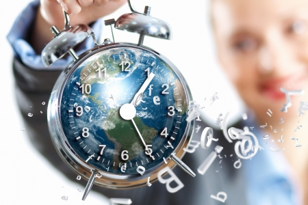 Time in business illustration with clock in hands of businesswoman Stock Illustration - 16906131