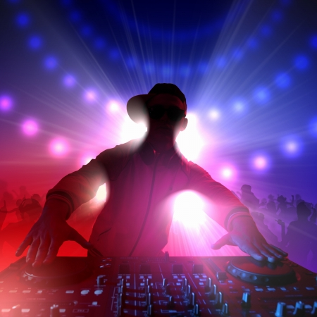 mixer: DJ with a mixer equipment to control sound and play music Stock Photo