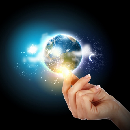 green planet: Human hand holding our planet earth glowing