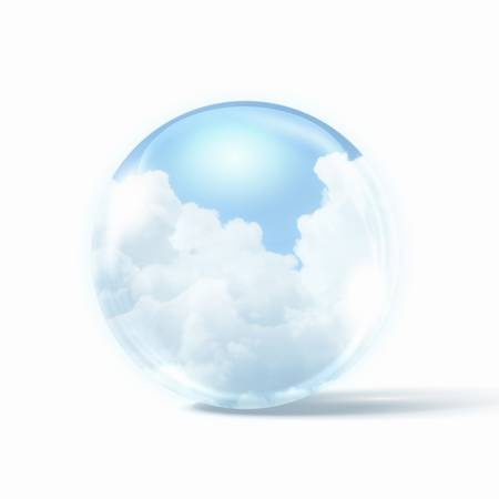 White clouds in blue sky inside a glass sphere Stock Photo - 16938066