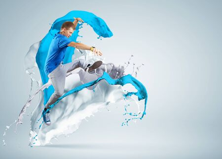 Modern style dancer jumping and paint splashes Illustration Stock Illustration - 16937246
