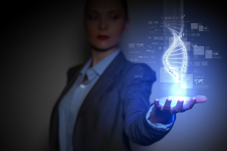 DNA science background with business person on the background photo