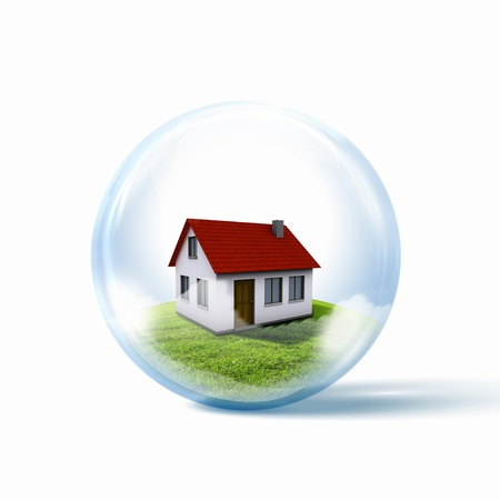 A residential house with red roof inside a glass sphere photo
