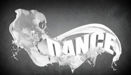 Word Dance on grey background with white splashes around photo