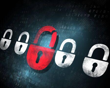Security concept  Lock on digital screen, illustration Stock Illustration - 16952202