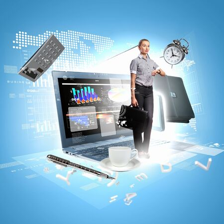 Modern technology illustration with computers and business person Stock Illustration - 16951264