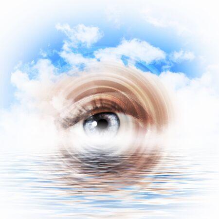 Conceptual illustration of eye overlooking water scenic
