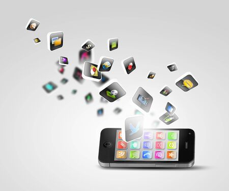 Media technology illustration with mobile phone and icons illustration