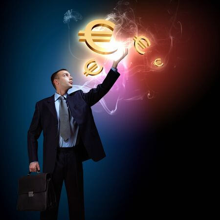 Modern people doing business, young businessman with money symbols Stock Photo - 16960204