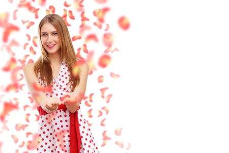 Beautiful young woman in red dress and flowers Stock Photo - 16981284