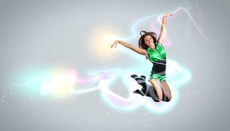 Young woman dancer illustration  With lights effect  Stock Illustration - 16955631