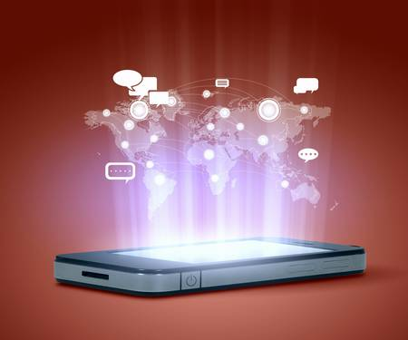 Modern communication technology illustration with mobile phone and high tech background illustration