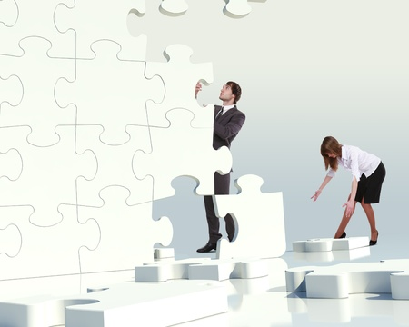 puzzle pieces: Businessman with a puzzle pieces on the background