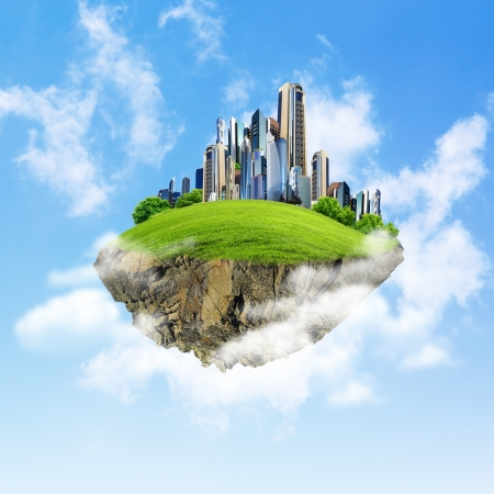 Little fine island   planet  A piece of land in the air  Lawn with house and tree  Pathway in the grass  Detailed ground in the base  Concept of success and happiness, idyllic ecological lifestyle Stock Photo