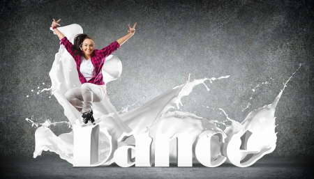 hip hop dancing: Modern style dancer jumping and the word Dance  Illustration Stock Photo