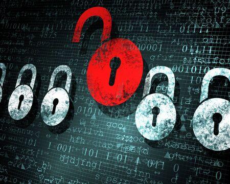 Security concept  Lock on digital screen, illustration Stock Illustration - 16982485