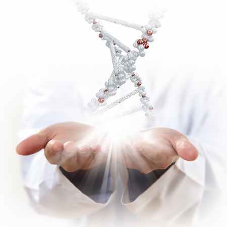 genetically: Image of DNA strand against background with human hands