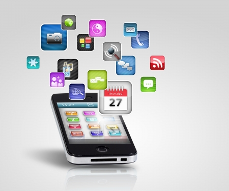 mobile app: Media technology illustration with mobile phone and icons