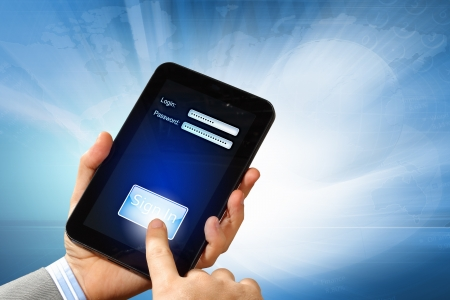 Login with email and password on computer screen Stock Photo - 16995941