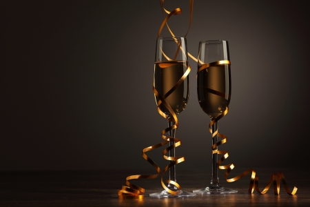 celebration champagne: Two champagne glasses ready to bring in the New Year