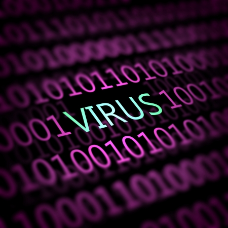 A computer virus detection symbol illustration with word Virus Stock Illustration - 16995817