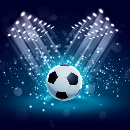 soccer grass: Black and white football or soccer ball, colour illustration