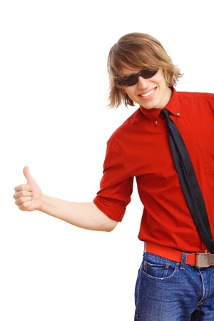 Happy handsome man showing thumbs up and white blank banner Stock Photo - 16991069
