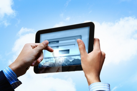 Login with email and password on computer screen Stock Photo - 16997601