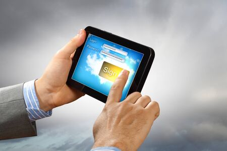Login with email and password on computer screen Stock Photo - 16996181