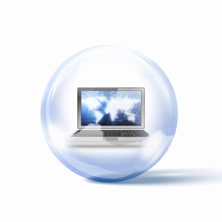 Image of a personal computer inside a glass sphere Stock Photo - 16996033