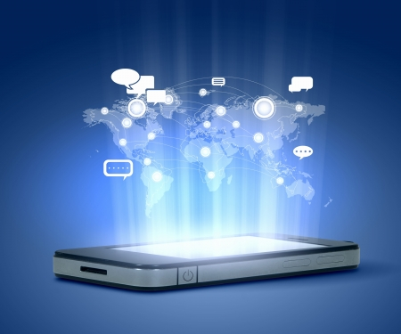 high tech: Modern communication technology illustration with mobile phone and high tech background Stock Photo