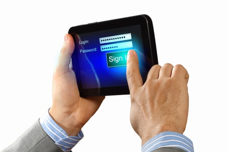 Login with email and password on computer screen Stock Photo - 17022531