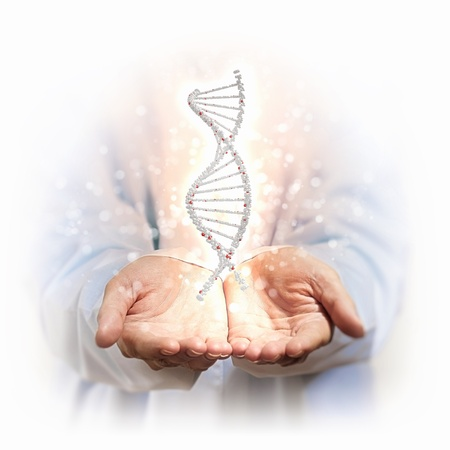 deoxyribonucleic: Image of DNA strand against background with human hands