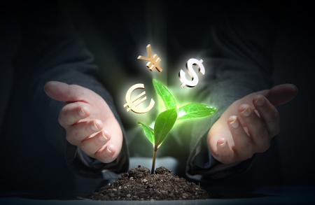 hands holding plant: Money Sprouting - finance and money symbols sprouting from stems