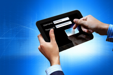 Login with email and password on computer screen Stock Photo - 17022698