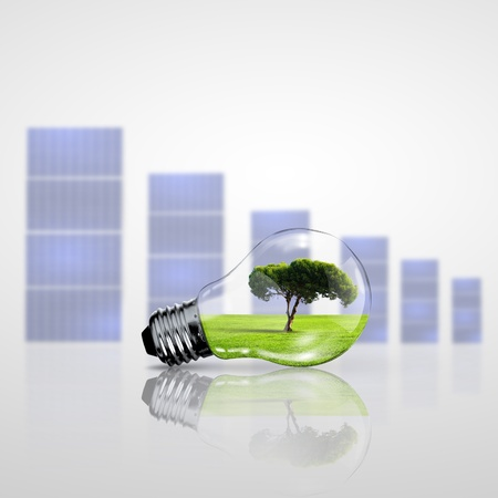 Green energy symbols, ecology concept, light bulb photo