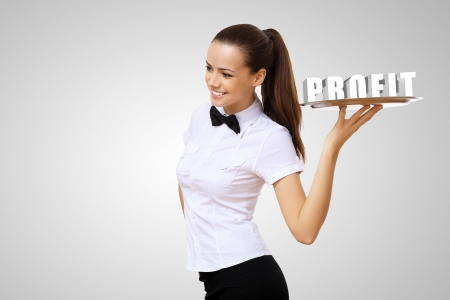 Waitress holding a tray with word profit on it Stock Photo - 17022226