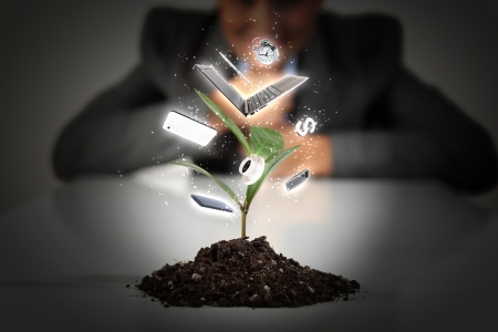 the sprouting: Money Sprouting - finance and money symbols sprouting from stems