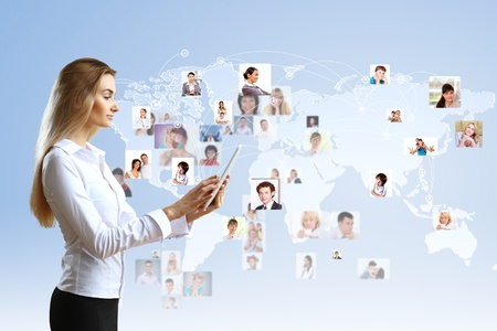 virtual world: Image of a business person and finance related background