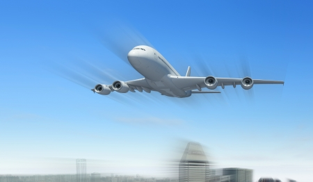 Large passenger airplane flying in the sky Stock Photo - 17022235