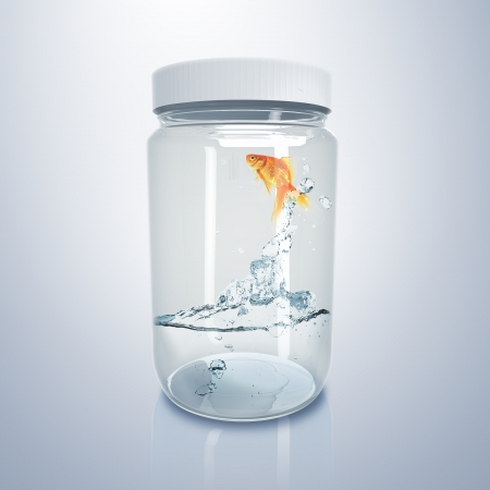 Gold fish jumping iout of water inside glass jar photo
