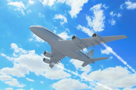 Large passenger airplane flying in the sky photo