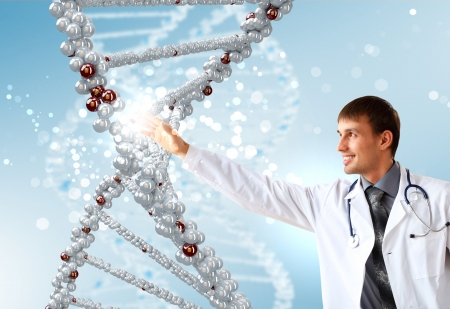 Image of DNA strand against colour background Stock Photo - 17022327
